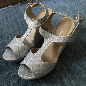 Rampage Silver glitter wedges, NWT, size 8
